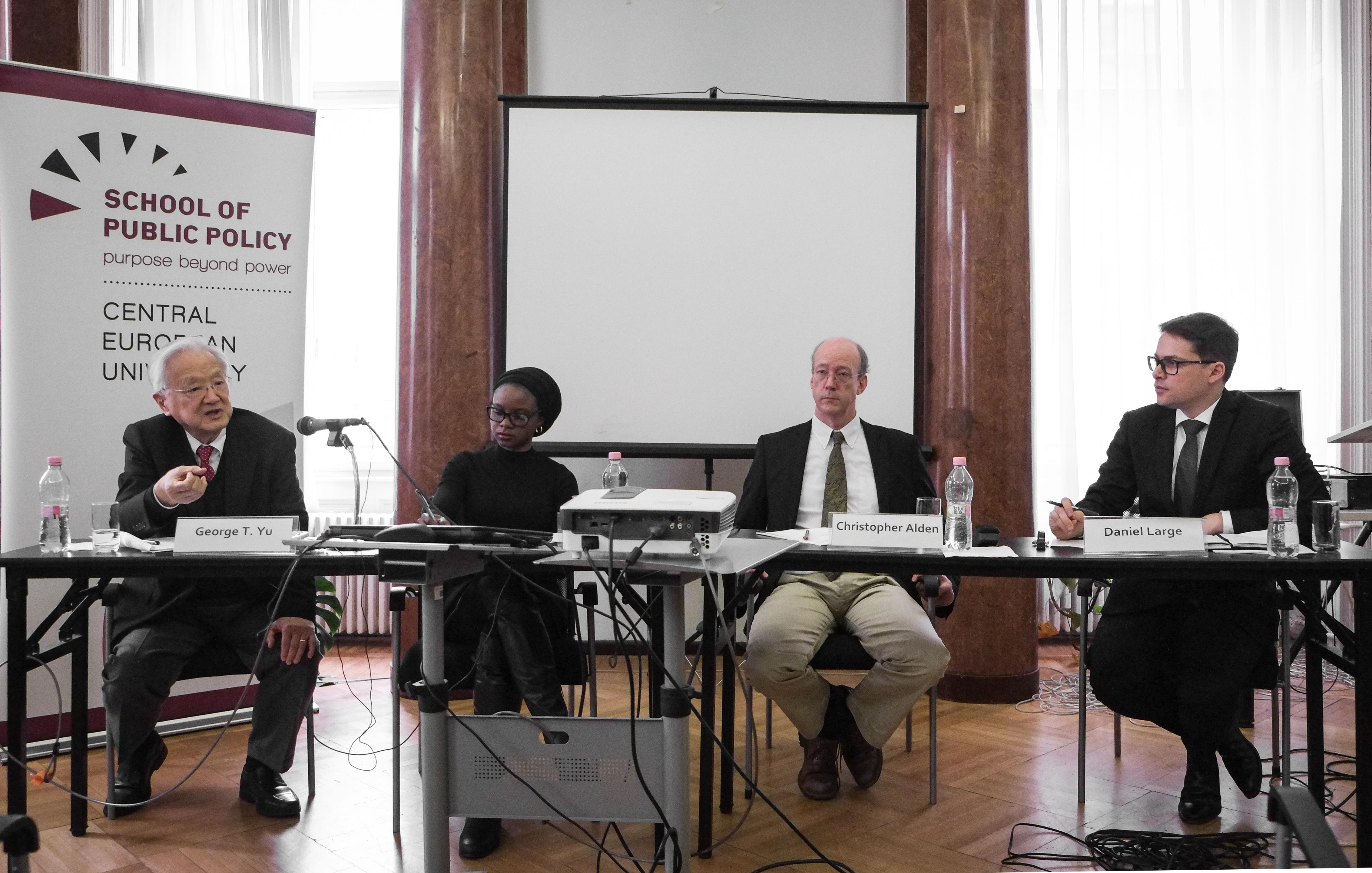 Panelists discuss the past, present, and future of China-Africa relations at the School of Public Policy at CEU. Photo: SPP/Stefan Roch